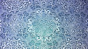 blue pattern flowers design mosaic floral ornaments