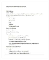 Sample Of Resume For Receptionist by 10 Administrative Assistant Resumes Free Sample Example