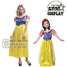 Mother Daughter Costumes Halloween Snow White Mother Daughter Matching Dress Lovely Soft