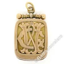 monogrammed locket antique handmade 10k gold engraved monogrammed locket