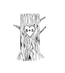 initials carved in tree custom tree trunk with heart and carved initials rubber
