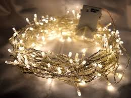 200 warm white led lights 20m clear cable battery operated