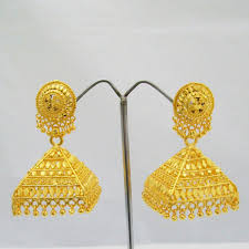 gold jhumka earrings large gold plated jhumka earrings pyramid pattern rajasthan india