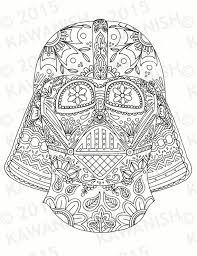 Day Of The Dead Darth Vader Mask Adult Coloring Page Gift Wall Darth Vader Coloring Pages