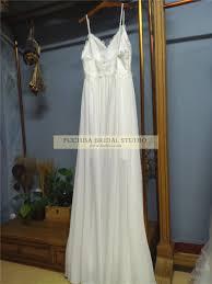 spaghetti straps floor length boho beach wedding dress with lace
