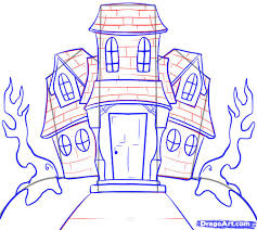 House Drawing by How To Draw A Haunted House Step By Step Halloween Seasonal