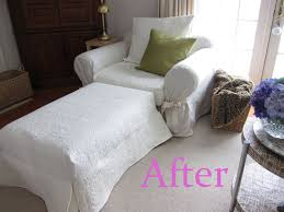 Matching Chair And Ottoman Slipcovers How To Make Pottery Barn Style Slipcovers Using A Quilt In My
