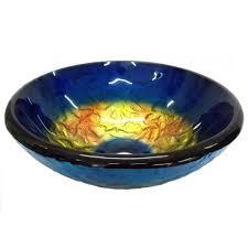 blue glass vessel sink eden bath small true planet glass vessel sink in multi colors