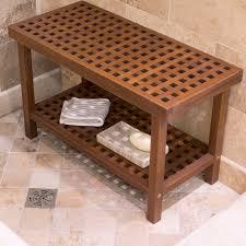 Outdoor Shower Bench Belham Living Lattice Teak Shower Bench Hayneedle
