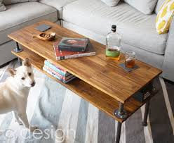 wood and pipe table two level wood pipe coffee table by ppluscdesign simplecove