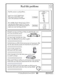 4th grade 5th grade math worksheets real life problems distance
