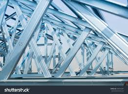 structure steel roof frame building construction stock photo