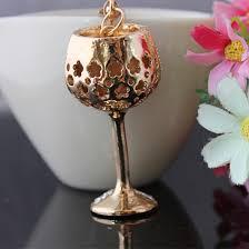 Wine Glass Keychain Online Shop 2015 New Crystal Wine Glass Keychain Rhinestone Key