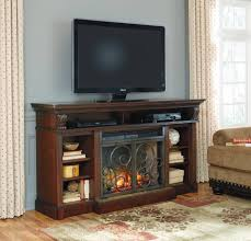 alymere elegant rustic brown black tv stand w fireplace decor