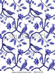 blue white seamless floral pattern spring stock illustration