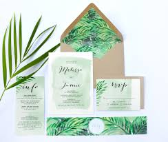 Wedding Invitations With Free Response Cards Tropical Wedding Invitations Rectangle Potrait White Green Leaf