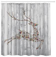Gray Fabric Shower Curtain White Washed Wood With Christmas Holiday Reindeer Fabric Shower