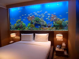 marvelous fish tank bedroom wall design with small table lamp