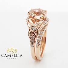 morganite bridal set floral morganite engagement ring diamond wedding band bridal set