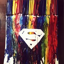 melted crayon art superman easy but tedious diy craft