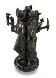 amazon com resin statues bronze finish triple form hecate greek