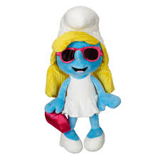 smurfette chic jumbo plush with glasses and cluch toys
