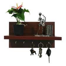 buy omega 6 wall mounted decor shelf with key hooks mahogany