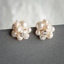 cluster earrings pearl cluster wedding earrings bridal stud earrings