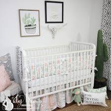 peach u0026 green cactus gender neutral baby crib bedding