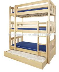 Pine Wood Bunk Bed With TrundleSolid Pine Wood Material And - Wooden bunk bed with trundle