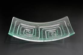 glass platter labyrinth curved recycled glassworks