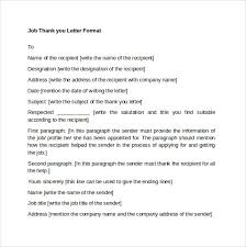 formal thank you letter format sample interview thank you letter