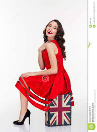 British Flag With Red Charming Happy Woman Posing On Vintage Suitcase With British Flag