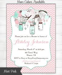 baby shower invitation mint green pink chevron mason jars