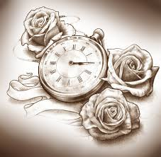 skull clock and roses tattoo designs in 2017 real photo pictures