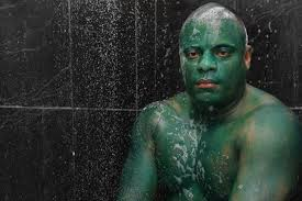 man wears green paint for hulk costume which wouldn u0027t wash off