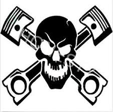 skull with pistons car vinyl decal window laptop wall motorcycle