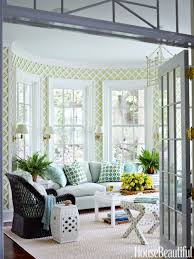 inside a happy serene house in cool blues greens and grays
