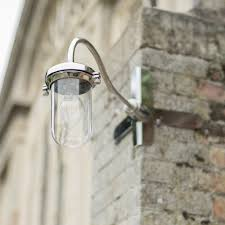Stainless Steel Outdoor Lighting Stable Light With Flat Mounting In Antiqued Brass Corner Lights