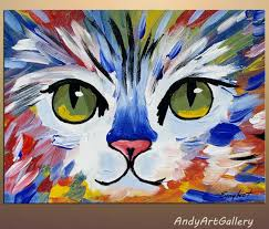 ideas to paint original abstract cat painting acrylic on canvas by andyartgallery