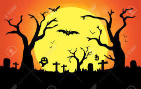 halloween night background background and illustration of big moon in halloween night royalty