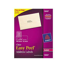 avery easy peel mailing address labels 1 x 2 63 in clear 1500