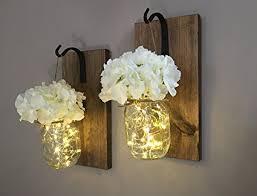 mason jar home decor amazon com rustic hanging mason jar sconces with led fairy lights