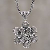 sterling silver flower necklace images Sterling silver coca leaf pendant necklace artisan jewelry coca jpg