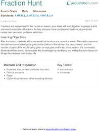 fraction hunt lesson plan education com