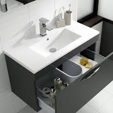 Minimalist Designer Hudson Reed Memoir Designer 800mm Freestanding Vanity Unit Grey