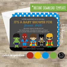 instant download superhero baby shower invitation diy pdf super