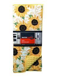 amazon com cuisine dish drying mat reversible sunflowers