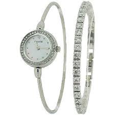 ladies silver bracelet watches images Accurist ladies silver tone bangle watch cz tennis bracelet gift jpg
