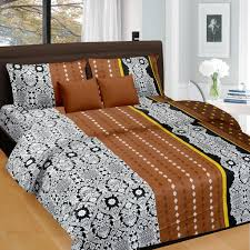 Home Decor Online Shops Black Brown Floral Pattern Double Bed Sheet King Size Double Bed